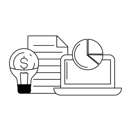 laptop bulb money report online payment vector illustration Ilustrace