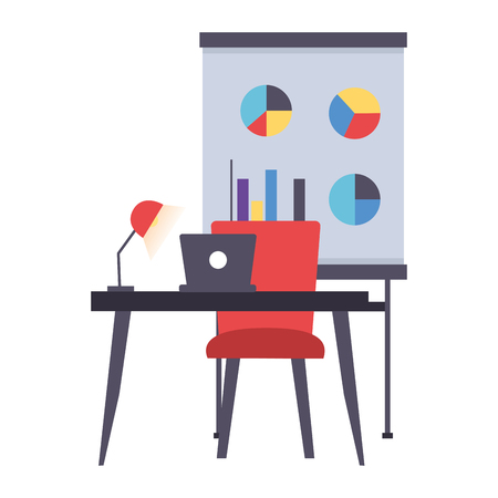 desk laptop chair board office workplace vector illustration