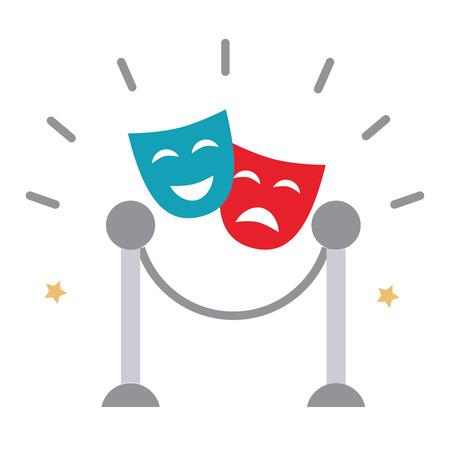 Diseño de ilustración de vector de icono de máscara de teatro aislado Ilustración de vector