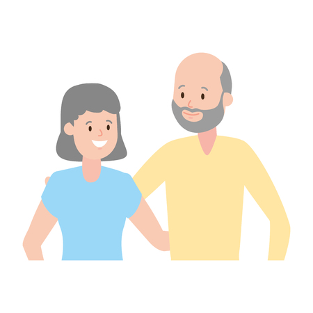 grandfather and grandmother couple vector illustration design 일러스트