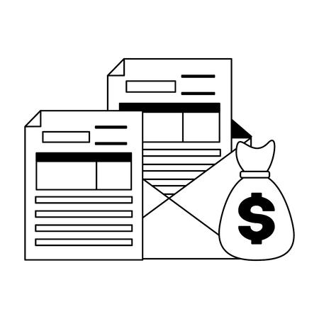 tax payment document money bag vector illustration