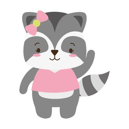 cute raccoon animal cartoon vector illustration design Standard-Bild - 122808849
