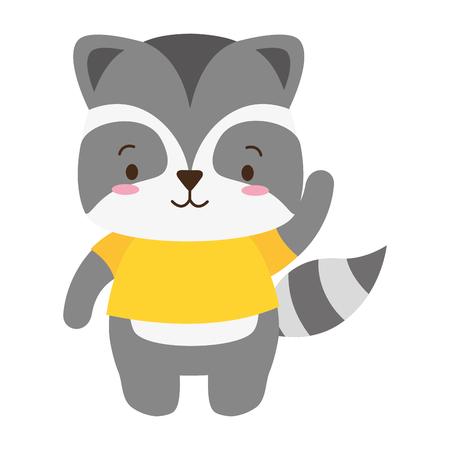 cute raccoon animal cartoon vector illustration design Illustration