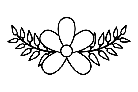 frangipani flower leaves decoration on white background vector illustration Çizim