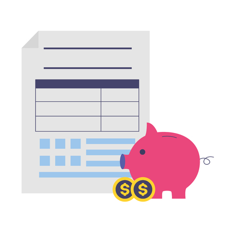 tax payment document piggy bank money coins vector illustration