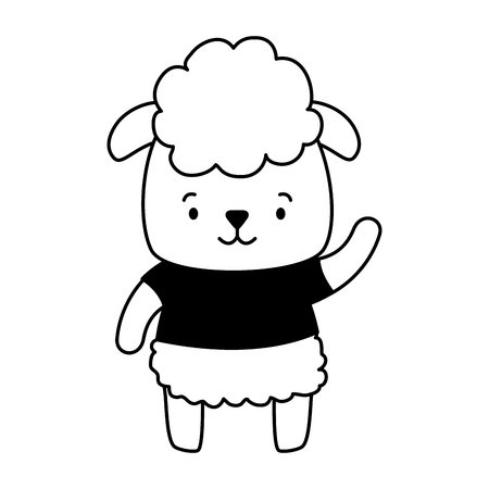 cute sheep animal cartoon vector illustration design Çizim