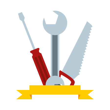 wrench screwdriver saw tool construction vector illustration Banco de Imagens - 122808899