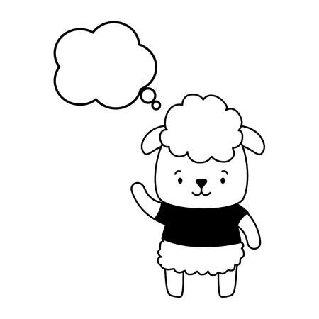 cute sheep cartoon speech bubble vector illustration design Vector Illustration