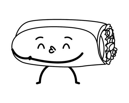 Ilustración de vector de dibujos animados de comida rápida burrito kawaii