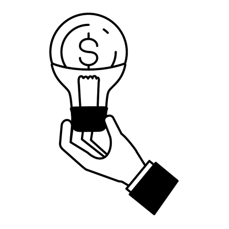 hand with bulb money online payment vector illustration