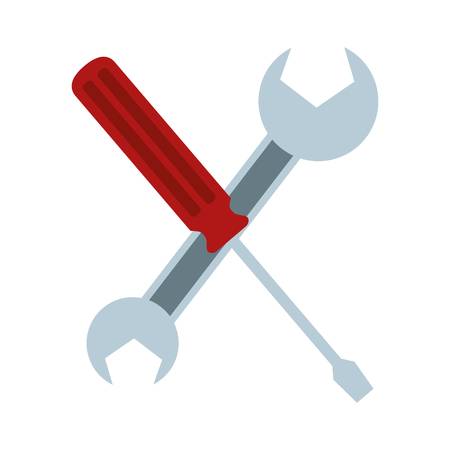 crossed screwdriver and spanner tools vector illustration Illustration