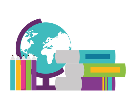 globe map books pencils school supplies vector illustration design Illustration