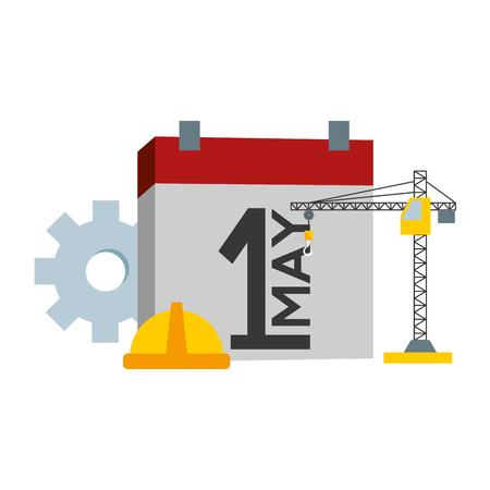 happy labour day calendar helmet crane vector illustration