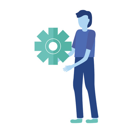 businessman holding gear work vector illustration design Ilustrace