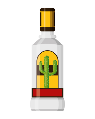 tequila bottle liquor on white background vector illustration 向量圖像