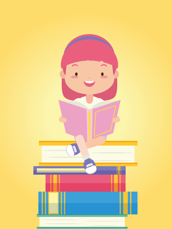 girl sitting books stacked world book day vector illustration Иллюстрация