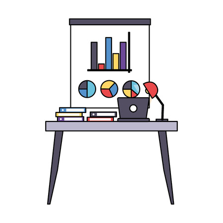 desk laptop books office workplace vector illustration