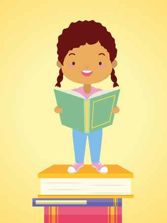 girl books stacked world book day vector illustration