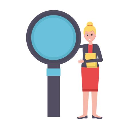 woman office folder magnifier work vector illustration