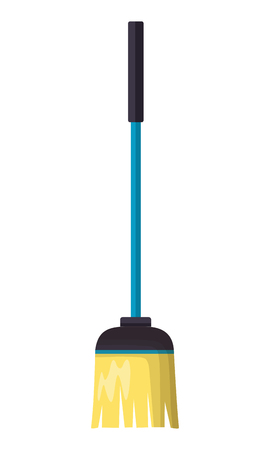 broom tool cleaning on white background vector illustration