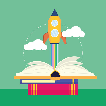 open book launching spaceship - world book day vector illustration
