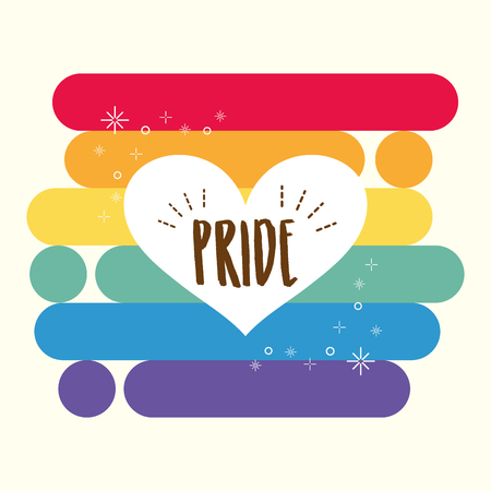 heart rainbow lgbt pride love vector illustration