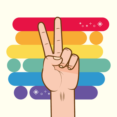 hand with rainbow colors peace and love lgbt pride love vector illustration Stock Vector - 121863670