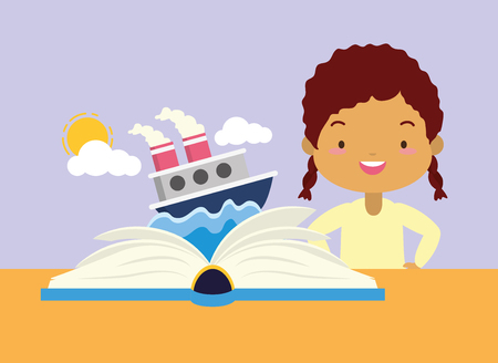 girl reading textbook boat sea - world book day vector illustration