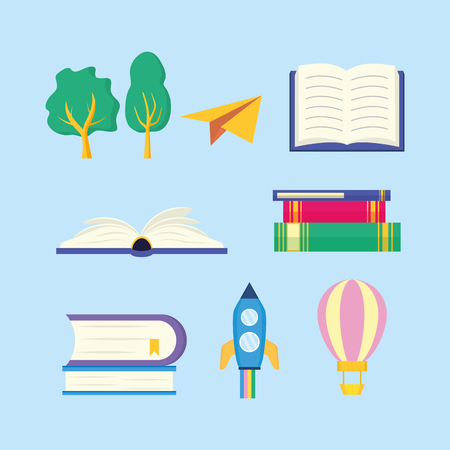 world book day set rocket travel balloon paper plane vector illustration