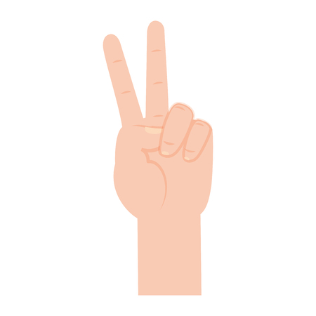 hand peace and love geature vector illustration Çizim