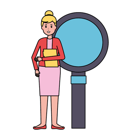 woman office folder magnifier work vector illustration Ilustração