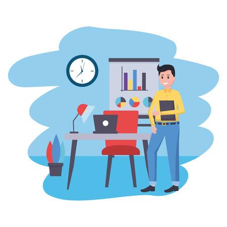 man laptop desk office workplace vector illustration Vectores