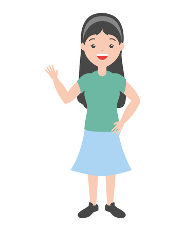 young woman waving hand vector illustration design Illustration