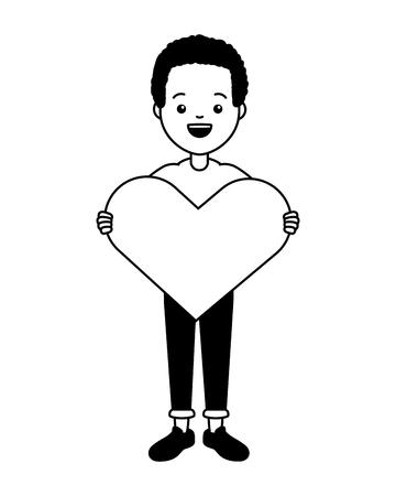 guy with heart lgbt pride vector illustration Çizim