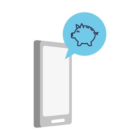 mobile piggy bank app online banking vector illustration Illustration