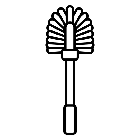 toilet brush tool cleaning on white background vector illustration