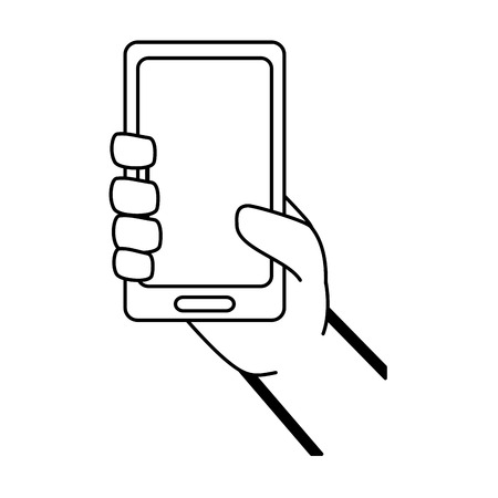 hand with mobile device vector illustration design 向量圖像