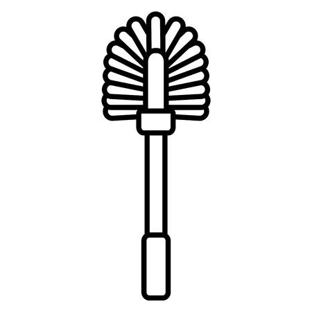 toilet brush tool cleaning on white background vector illustration