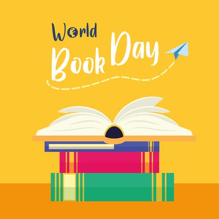 world book day - books stacked learning vector illustration Reklamní fotografie - 122760148