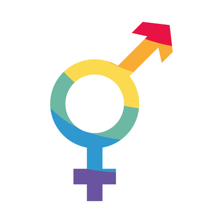 gender symbol with colors rainbow lgbt pride love vector illustration Illustration