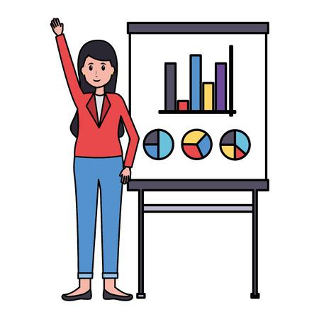 woman board presentation office workplace vector illustration Foto de archivo - 122760196