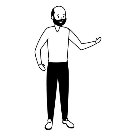 caractère vieil homme sur fond blanc vector illustration