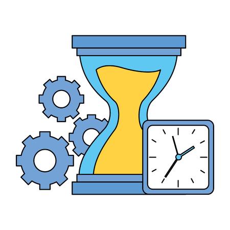 hourglass clock gears time work vector illustration Archivio Fotografico - 122760199
