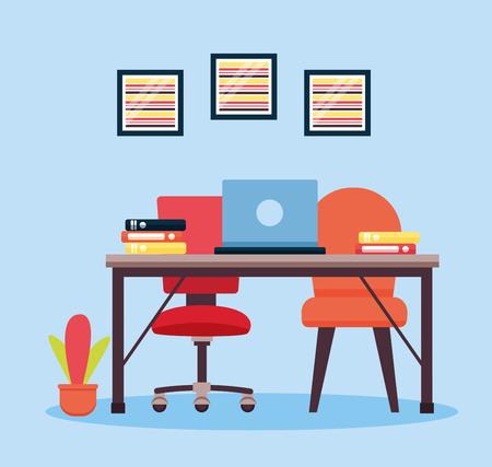 office interior workplace furniture background vector illustration design Ilustrace
