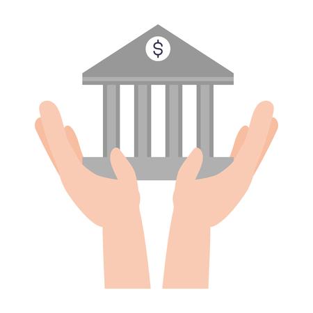 hands holding bank saving online banking vector illustration Ilustração