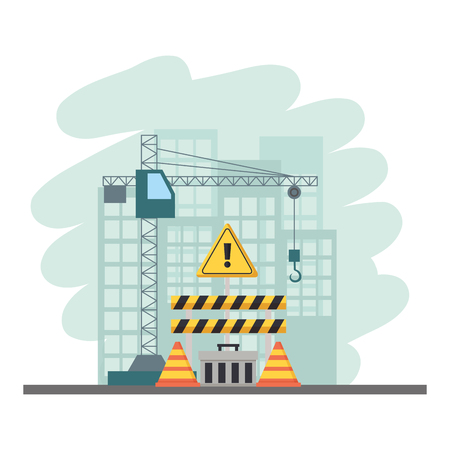 crane construction barricade toolbox warning sign tools vector illustration Çizim