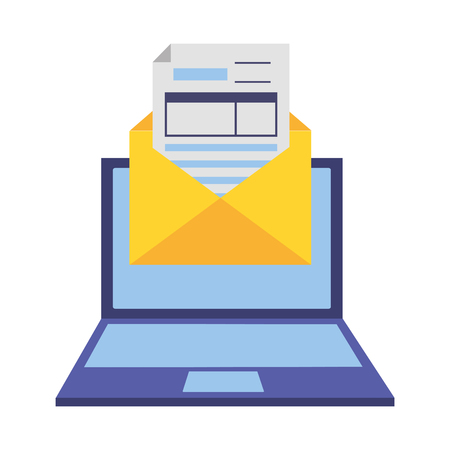 laptop mail report tax payment vector illustration Standard-Bild - 122760235