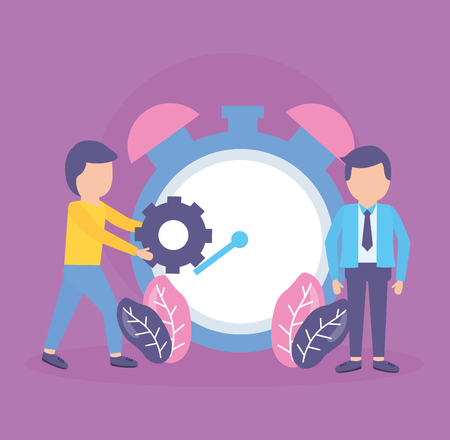 businessmen clock time background vector illustration design Illusztráció