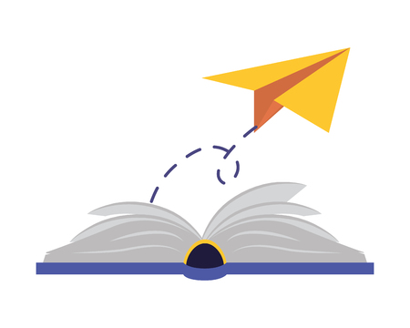 paper plane textbook - world book day vector illustration