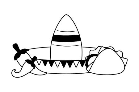 hat taco jalapeno mexico cinco de mayo vector illustration